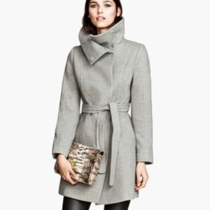 ONE DAY SALE H&M Funnel Collar Belted Jacket Coat